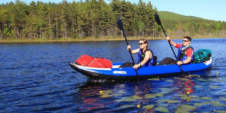 Paddling a Sea Eagle 420x Explorer 2-person inflatable kayak.