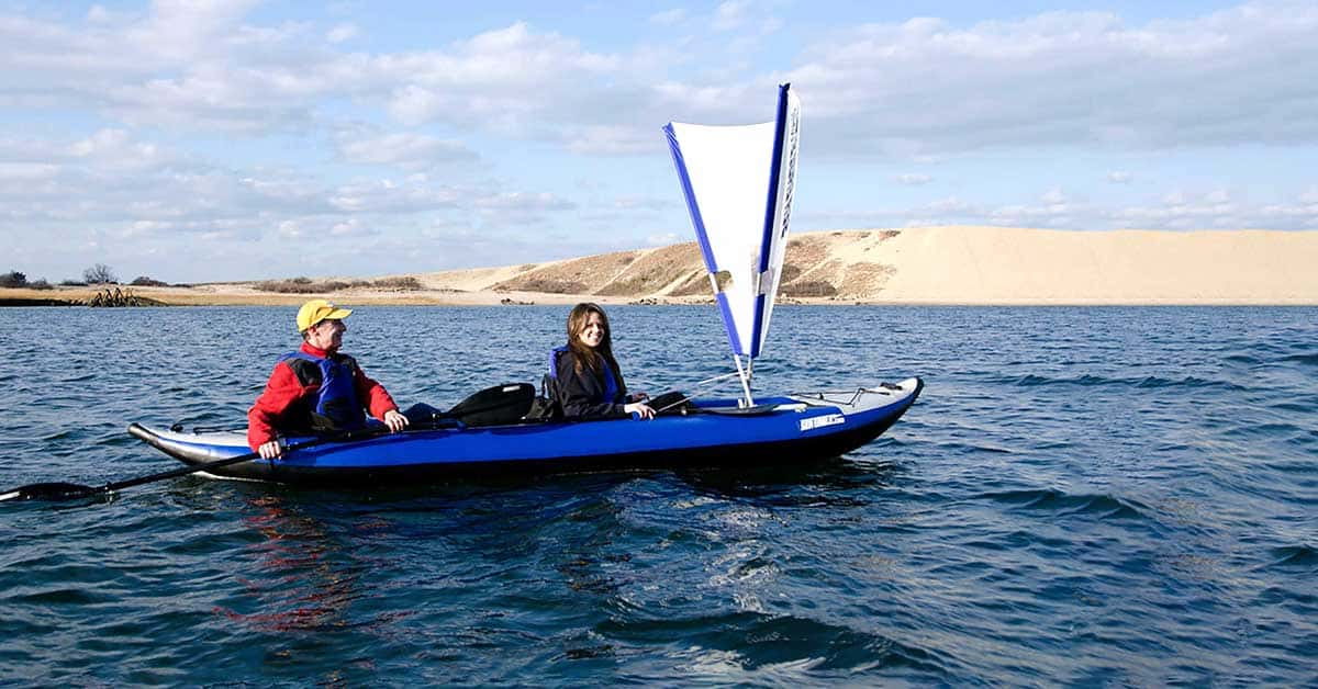 Sailing a Sea Eagle 420x Explorer 2-person inflatable kayak.