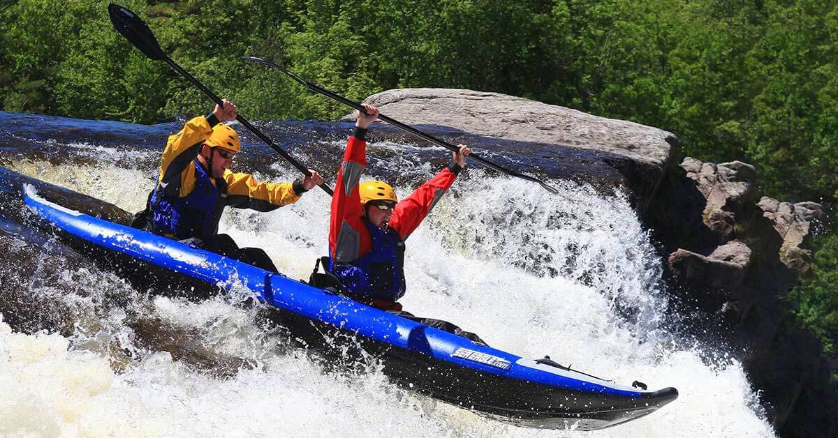 Whitewater kayaking in a Sea Eagle 420x Explorer 2-person inflatable kayak.