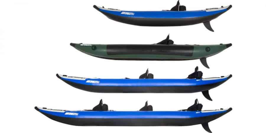 Comparing the side view of the Sea Eagle Explorer inflatable kayak series: 300x, 350fx, 380x, and 420x.