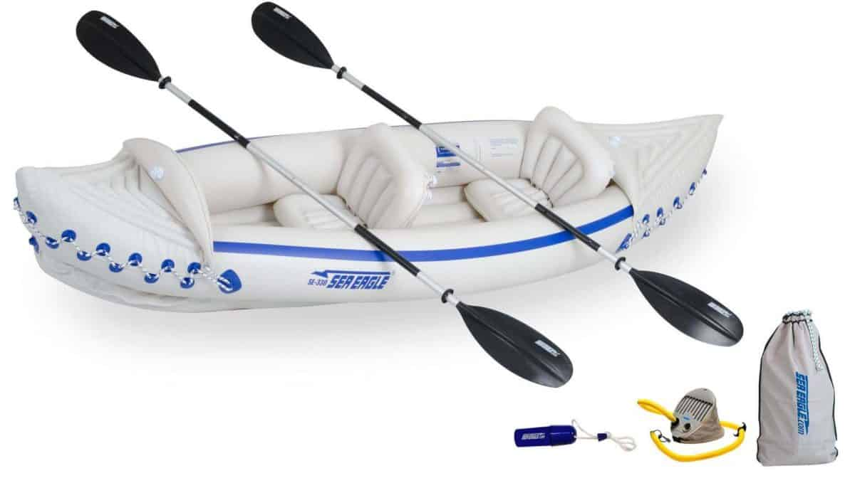 Sea Eagle 330 Sport Inflatable Kayak 2-Person Deluxe Kayak Package, Model SE330K_D.