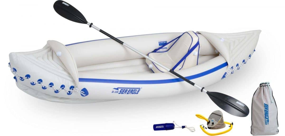 Sea Eagle 330 Sport Inflatable Kayak Pro Solo Kayak Package, Model SE330K_PSB.