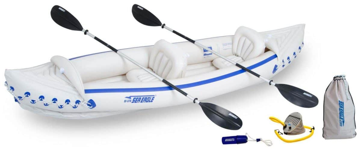 Sea Eagle 370 Sport Inflatable Kayak 2-Person Deluxe Kayak Package, Model SE370K_D.