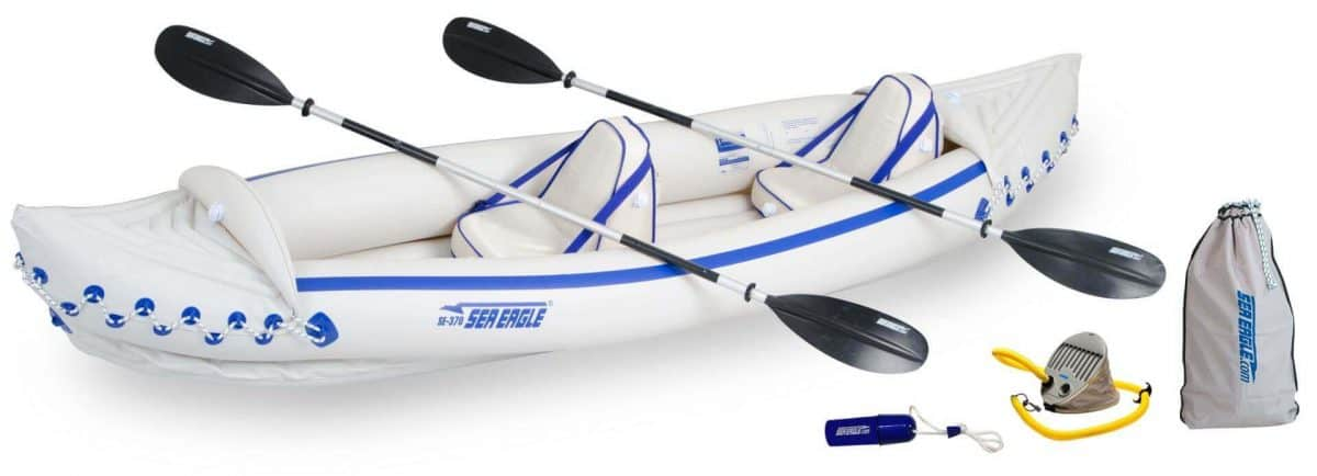 Sea Eagle 370 Sport Inflatable Kayak 2-Person Pro Kayak Package, Model SE370K_P.