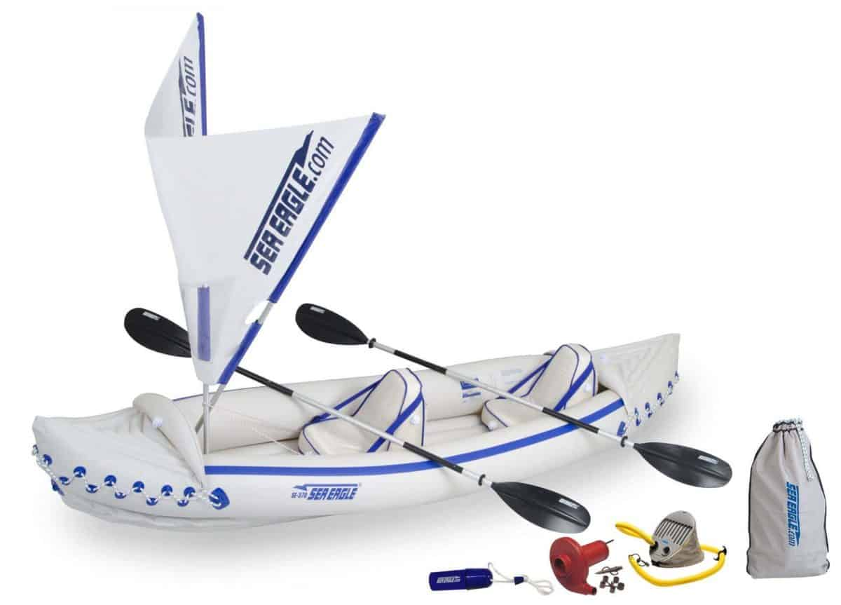 Sea Eagle 370 Sport Inflatable Kayak 2-Person QuikSail Package, Model SE370K_QS.