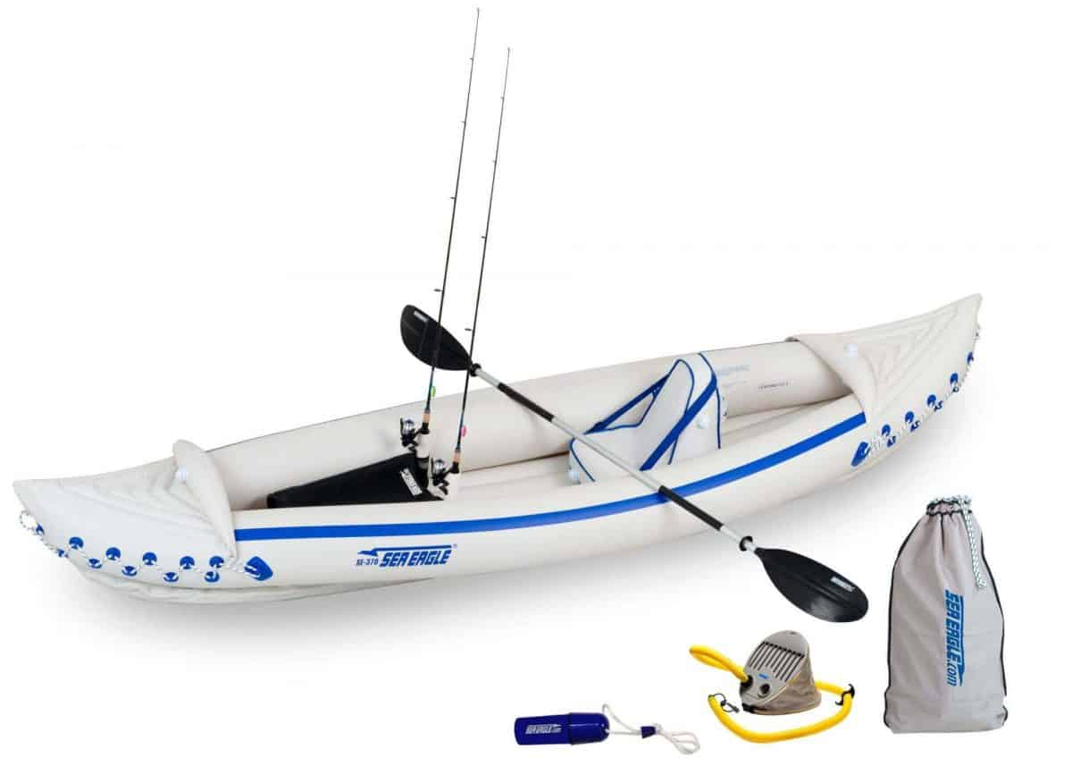 Sea Eagle 370 Sport Inflatable Kayak Solo Fishing Package, Model SE370K_SF.