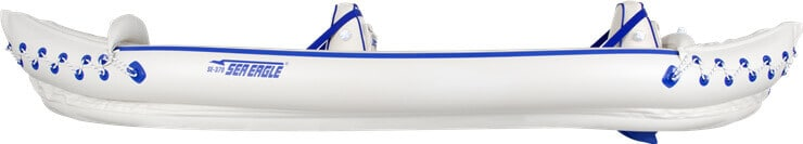 Side view of a Sea Eagle 370 Sport Inflatable Kayak.
