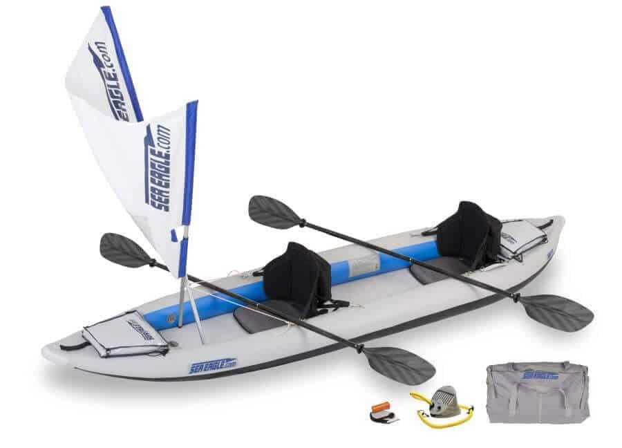 Sea Eagle 385ft FastTrack Inflatable Kayak Tandem QuickSail Package, 385FTK_QS.