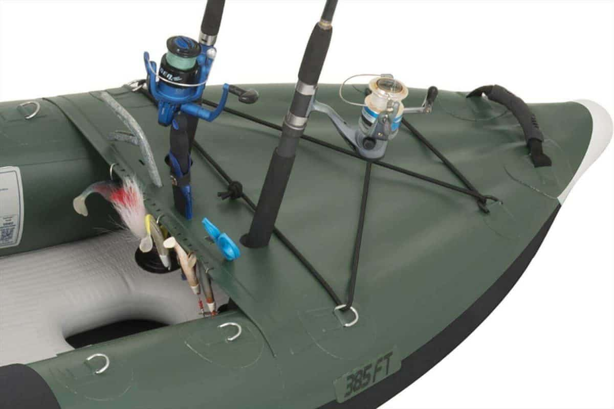 The Sea Eagle 385fta FastTrack Angler inflatable kayak has customized front and rear spray skirts for your fishing gear..