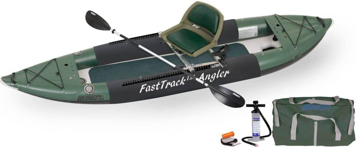 Sea Eagle 385fta FastTrack Angler Inflatable Kayak Swivel Seat Fishing Rig Package, Model 385FTAK_FR.