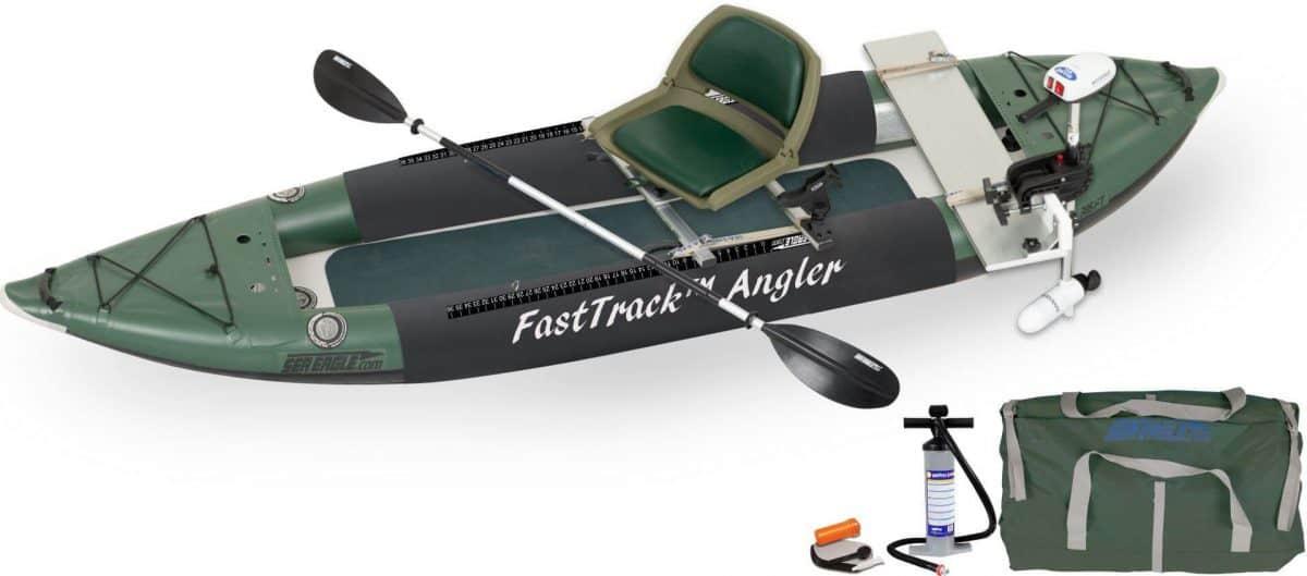 Sea Eagle 385fta FastTrack Angler Inflatable Kayak Swivel Seat Pro Motor Fishing Rig Package, Model 385FTAK_PMFR.