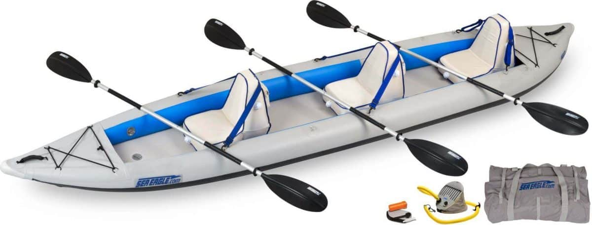 Sea Eagle 465ft FastTrack Inflatable Kayak 3-Person Deluxe Package, Model 465FTK_D.