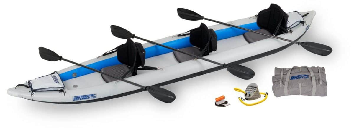 Sea Eagle 465ft FastTrack Inflatable Kayak 3-Person Pro Carbon Package, Model 465FTK_PC.