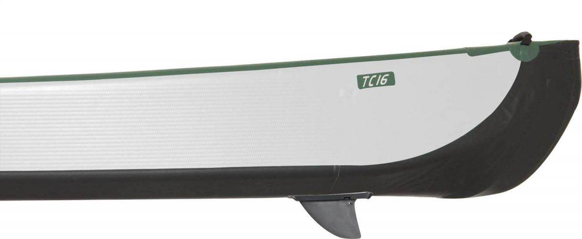 The inflatable Sea Eagle Travel Canoe 16 has bow and stern molds combined with a rear removable skeg for improved speed and tracking.