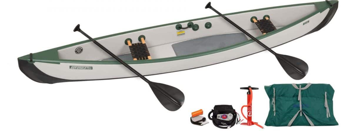 Sea Eagle Travel Canoe 16 Inflatable 2-Person Canoe Wood Web Seats Electric Pump Package, Model TC16K_EPW.