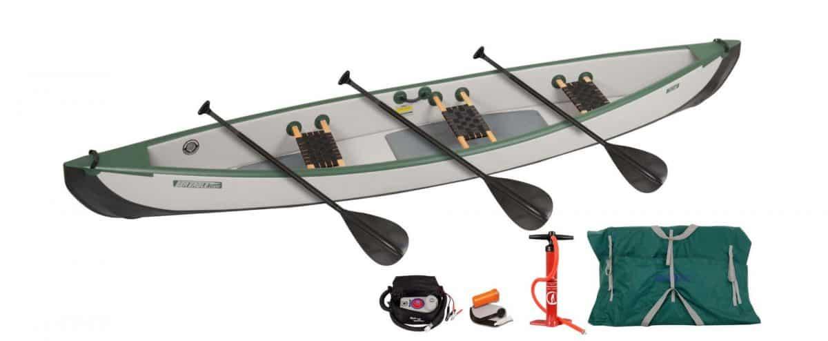 Sea Eagle Travel Canoe 16 Inflatable 3-Person Canoe Wood Web Seats Electric Pump Package, Model TC16K_EP3W.