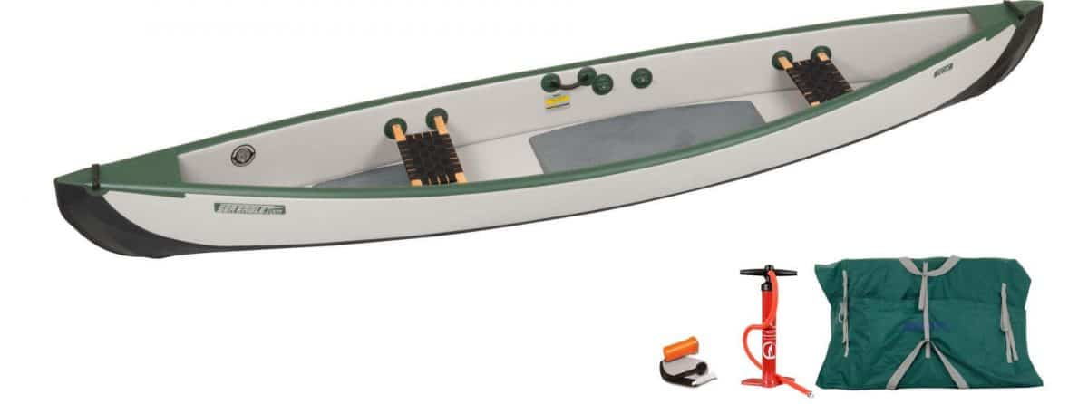 Sea Eagle Travel Canoe 16 Inflatable Canoe Wood Web Seats 2-Person Basic Package, Model TC16K_BW.