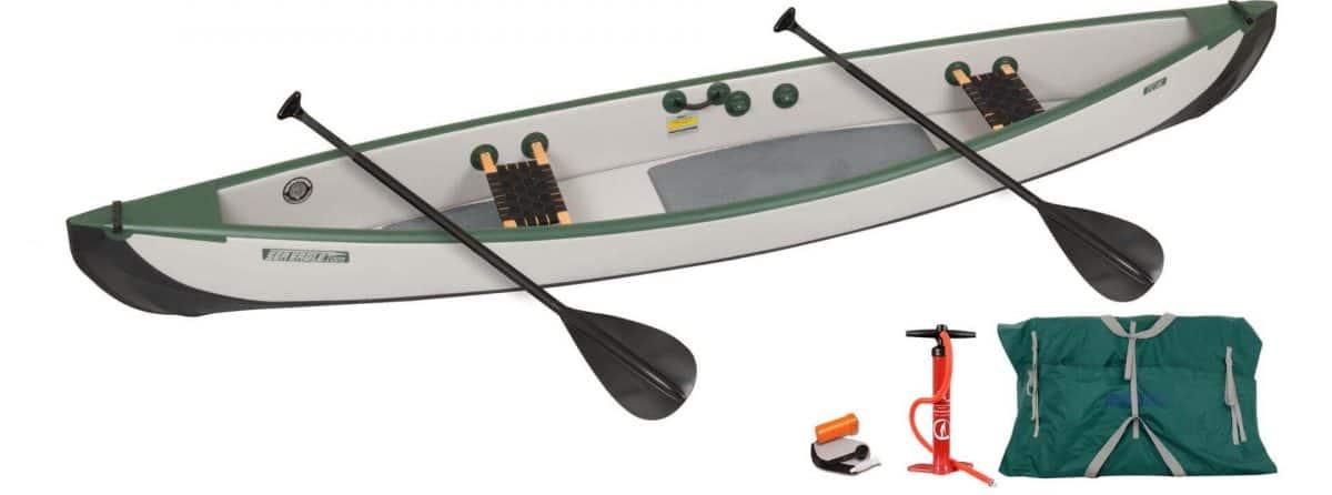 Sea Eagle Travel Canoe 16 Inflatable Canoe Wood Web Seats 2-Person Start-Up Package, Model TC16K_STW.
