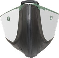 Front view of a Sea Eagle Travel Canoe 16 Inflatable Canoe.