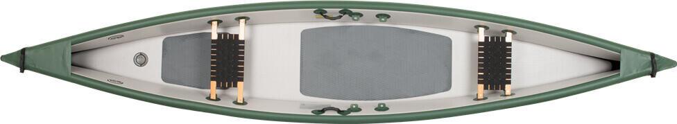 Top View of a Sea Eagle Travel Canoe 16 Inflatable Canoe.