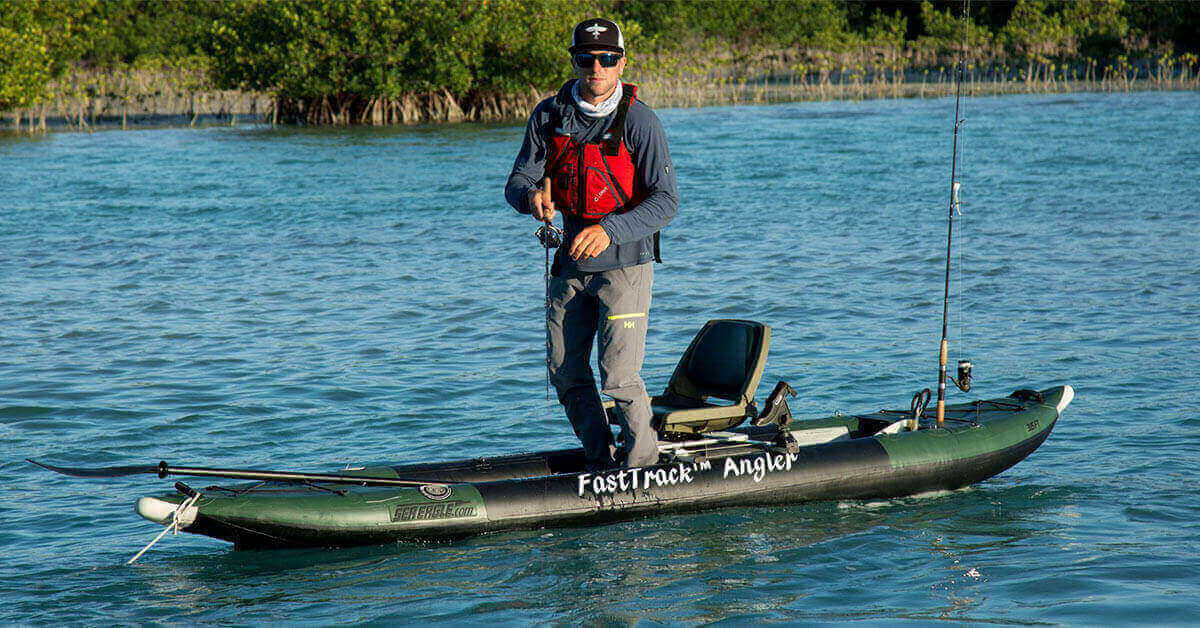Stand up fishing in a Sea Eagle 385fta FastTrack Angler inflatable kayak.