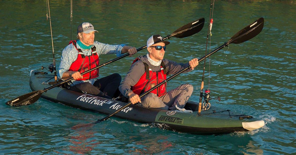 Two fishermen paddling in a Sea Eagle 385fta FastTrack Angler inflatable tandem kayak.