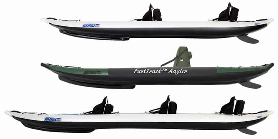 Side view of each kayak in the Sea Eagle FastTrack line of inflatable kayaks.