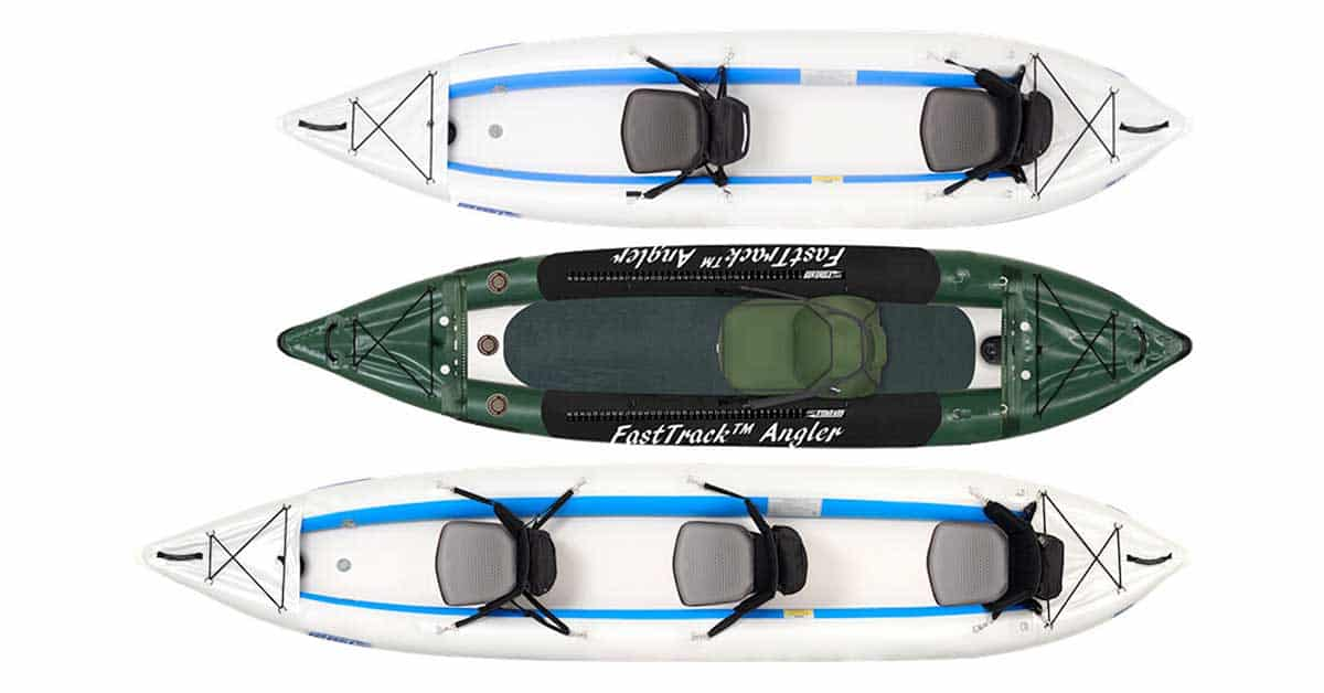 Top view of each kayak in the Sea Eagle FastTrack line of inflatable kayaks.