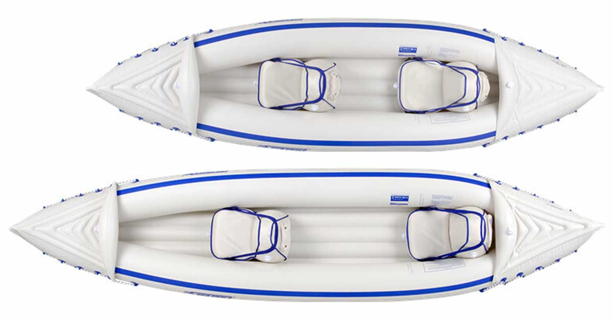 Top view of each kayak in the Sea Eagle Inflatable Sport Kayak lineup. The SE330 and the SE370.