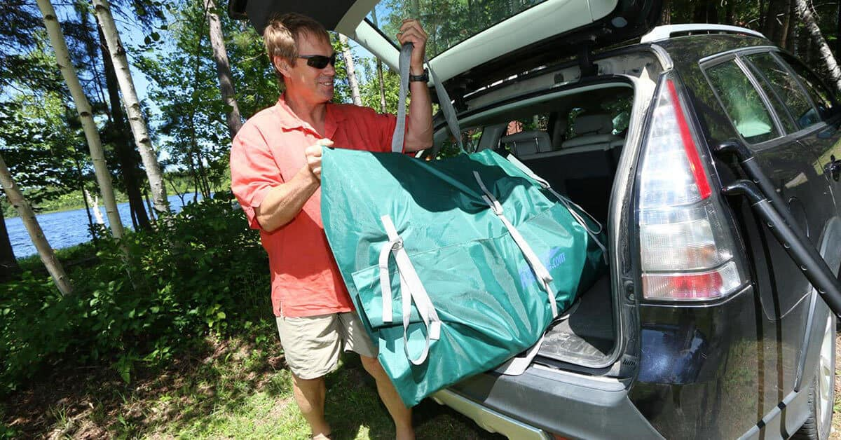 The Sea Eagle Inflatable Travel Canoe 16 easily fits into its carry bag for transport in the trunk of a car.