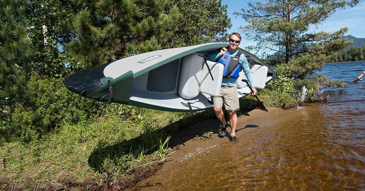 It's easy to solo carry the lightweight Sea Eagle Inflatable Travel Canoe 16.