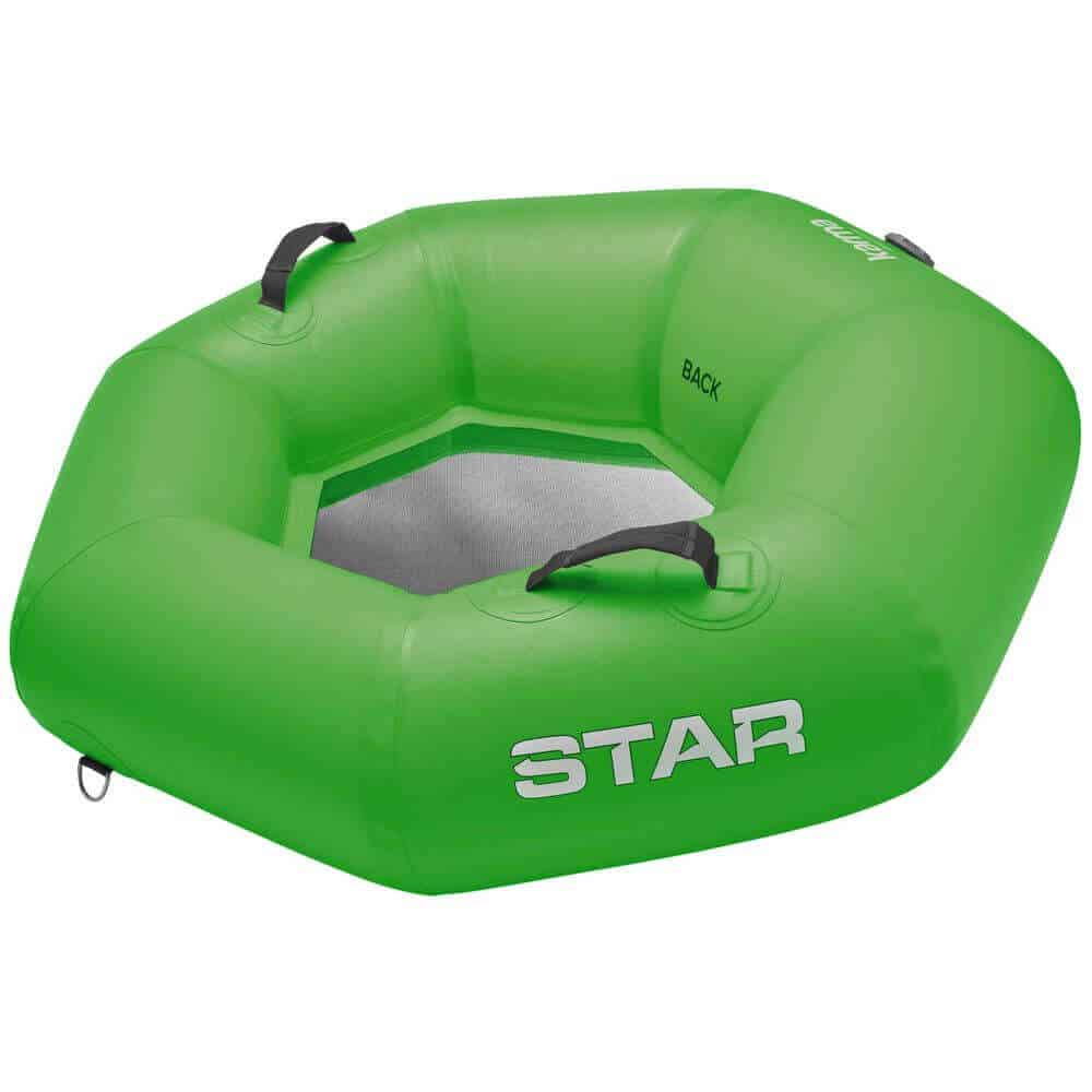 The side view of a STAR Karma River Tube in green.