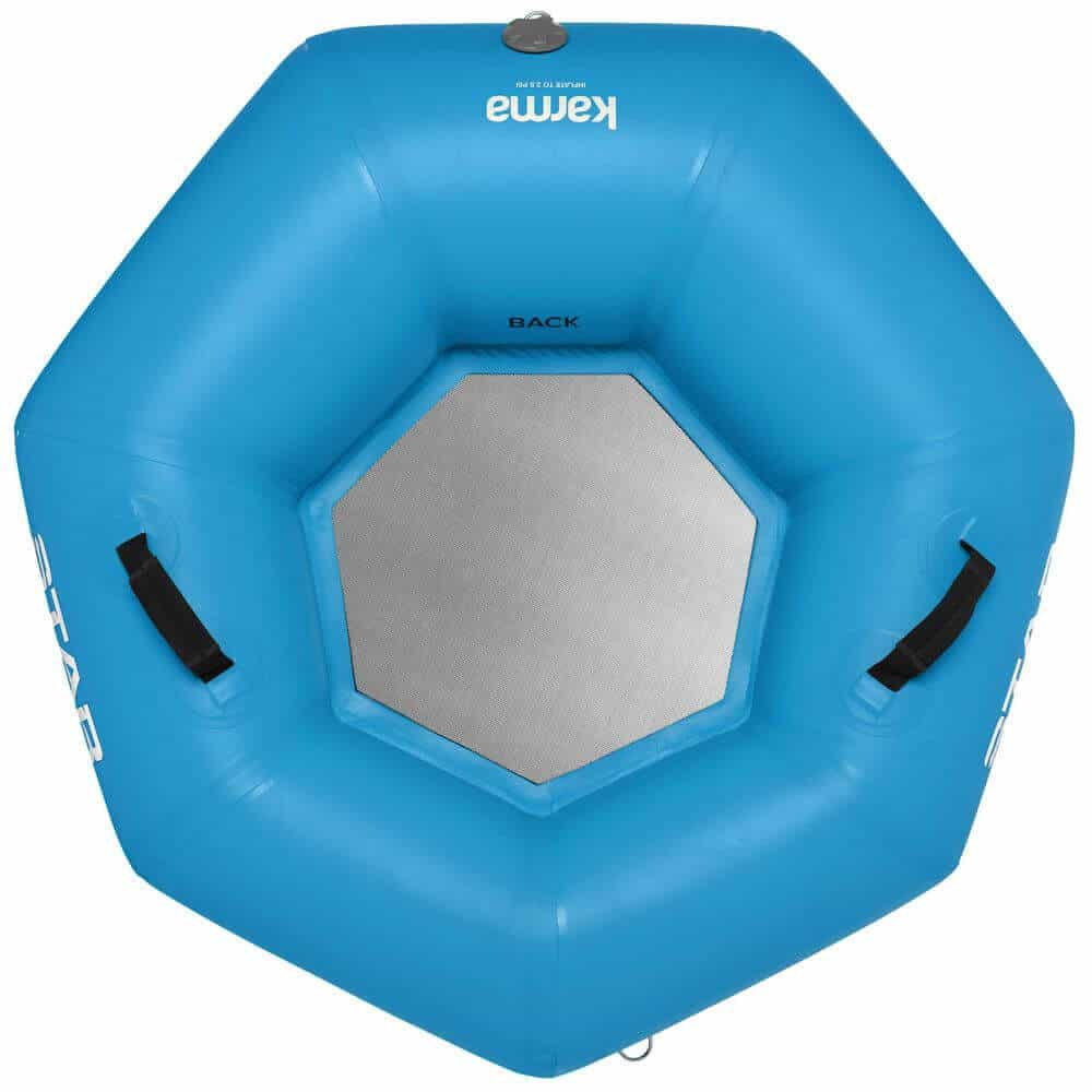 The top view of a STAR Karma River Tube in blue.