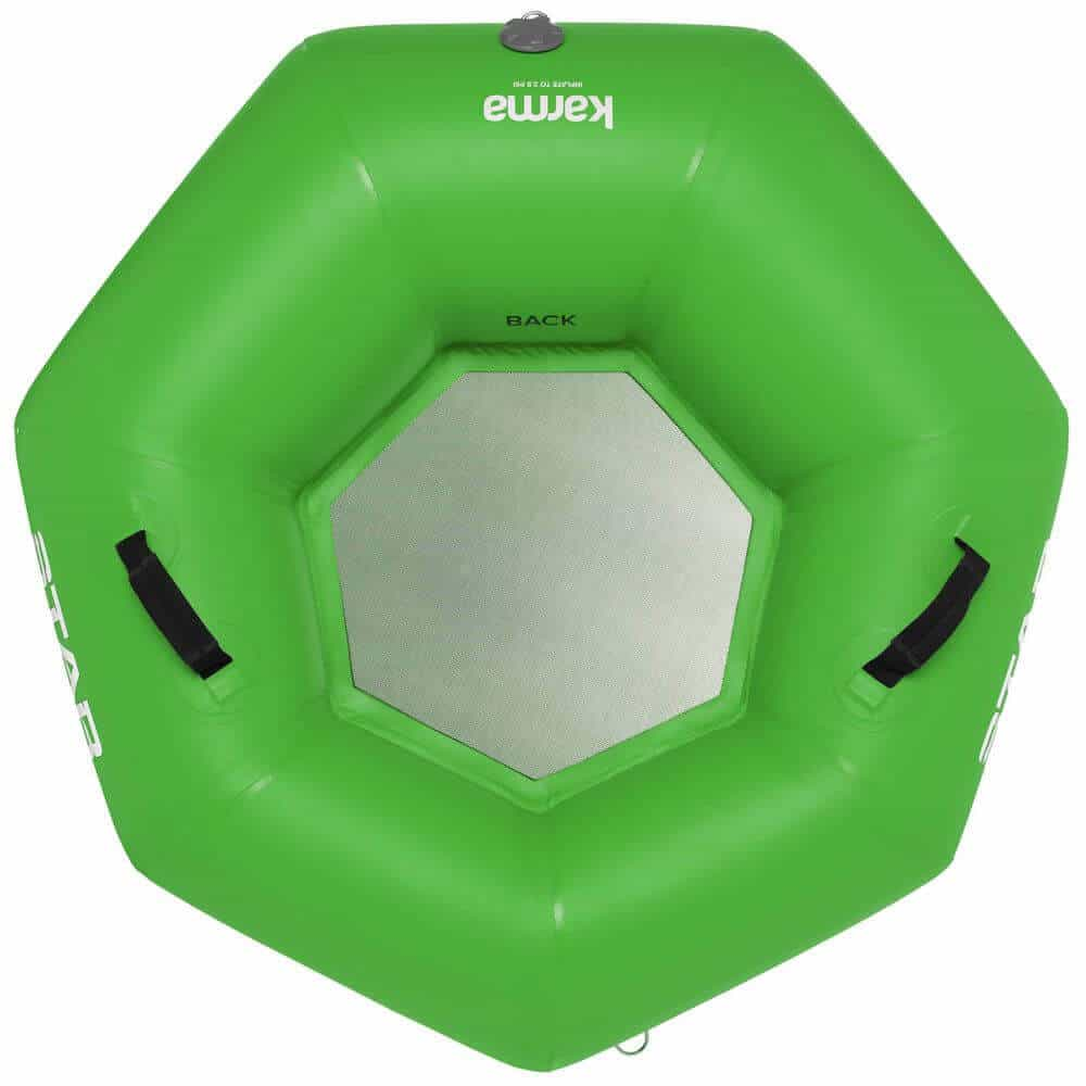 The top view of a STAR Karma River Tube in green.