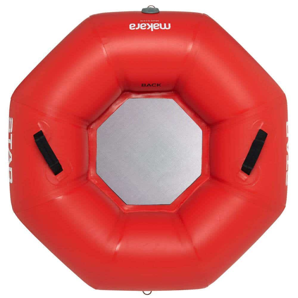 The top view of a STAR Makara River Tube In red.