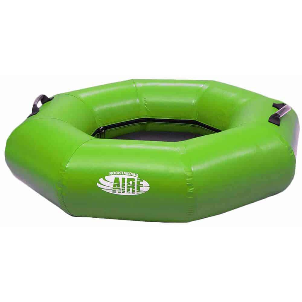 The side view of an AIRE Rocktabomb inflatable river tube in green.