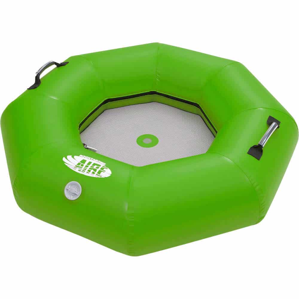 The inside mesh floor view of an AIRE Rocktabomb inflatable river tube in green.