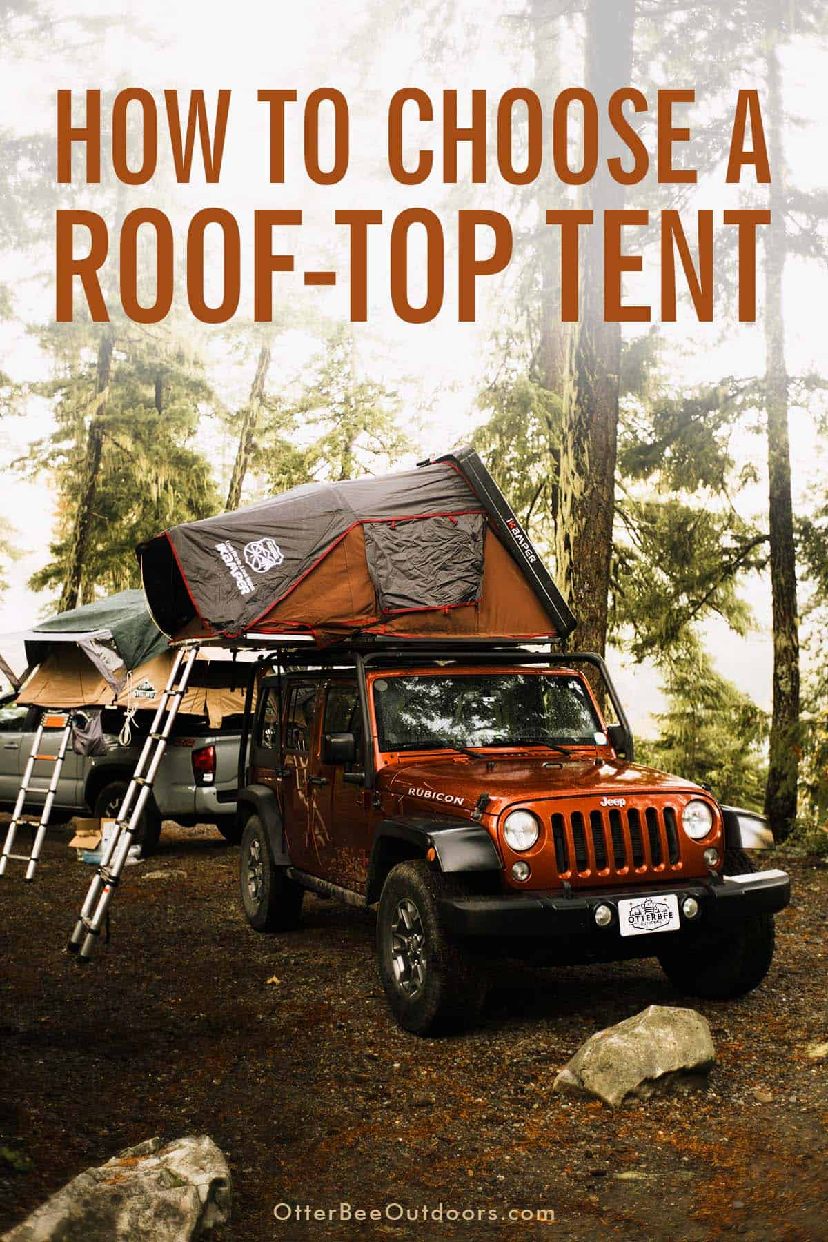 An iKamper hardshell roof-top tent on a Jeep Rubicon and a softshell tent mounted to a truck bed in the the woods on a camping trip. The graphic says, How To Choose A Roof-Top Tent.