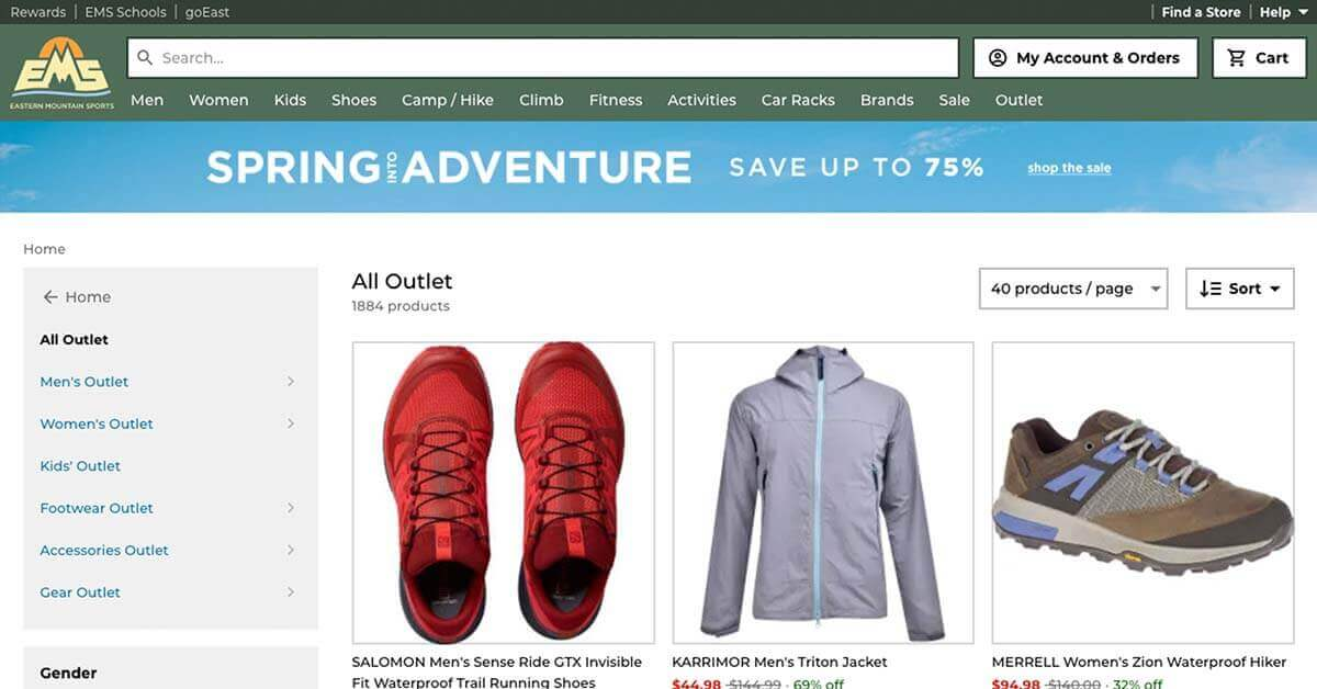 Eastern Mountain Sports (EMS) | Looking for ways to save money on outdoor gear? Here are the best onlinestores to buy discount outdoor gear.