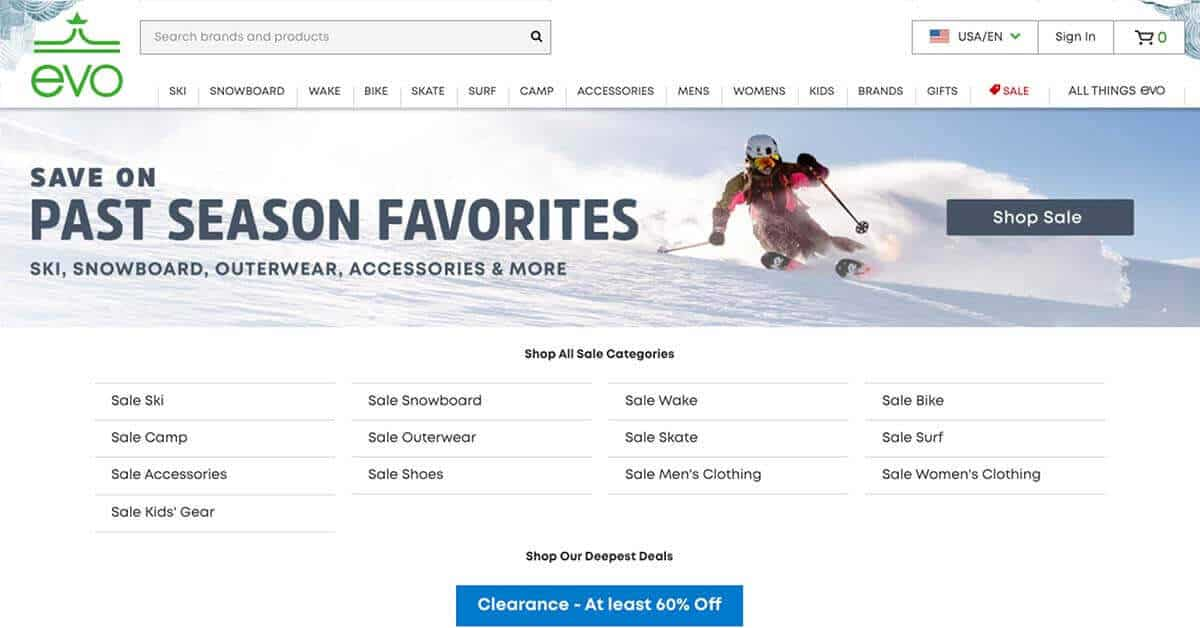 Evo | Looking for ways to save money on outdoor gear? Here are the best onlinestores to buy discount outdoor gear.