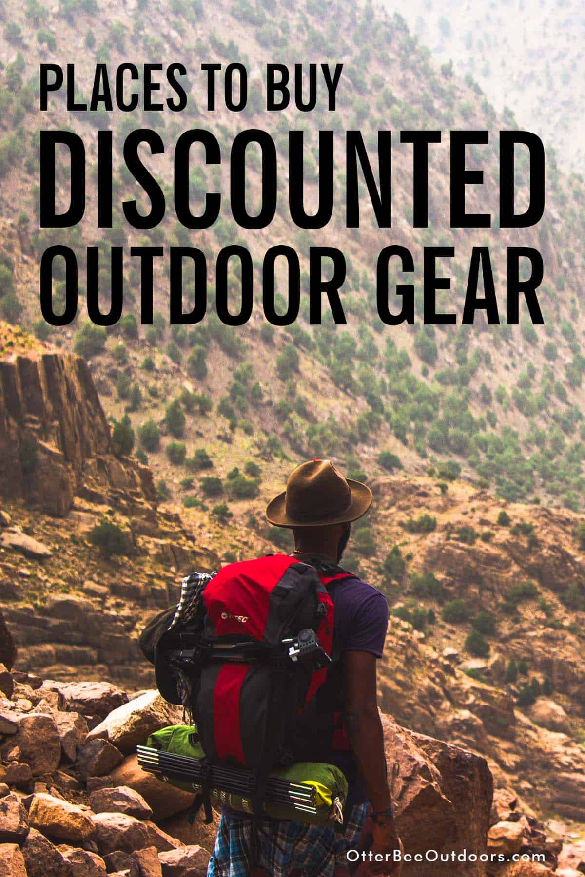 Backpacking through the mountains. The graphic states, Places to Buy Discounted Outdoor Gear.