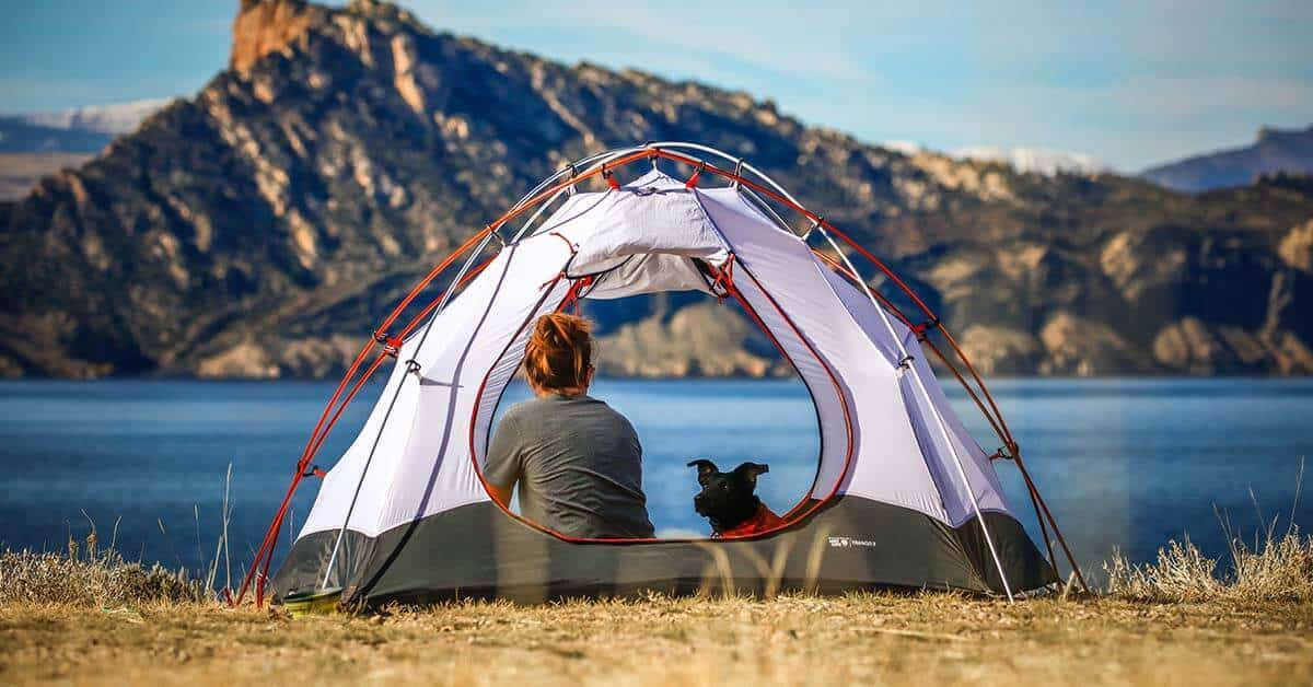 A woman with a dog in a ground tent overlooking a mountain lake.