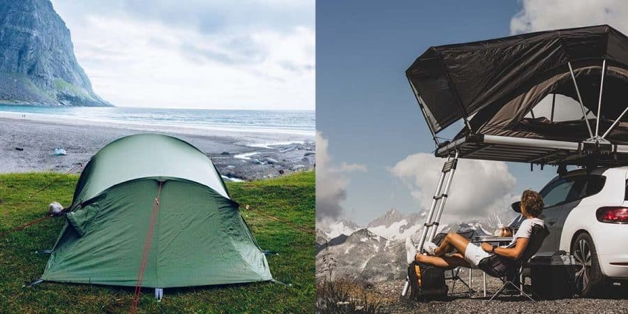 A ground tent and a roof-top tent shown beside each other for comparison.