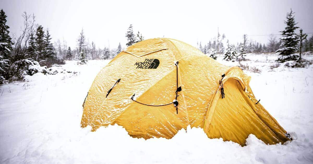 A 4-season ground tent from The North Face in a snowy winter landscape.