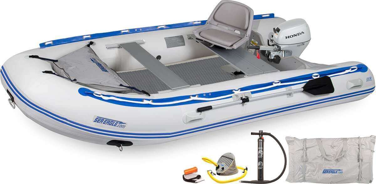 The 126SRDK_HM Sea Eagle 12'6″ Sport Runabout Inflatable Boat - Drop Stitch Swivel Seat Honda Motor Package.
