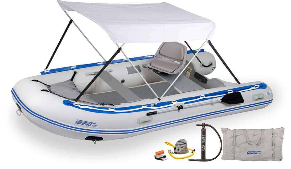 The 126SRDK_SWC Sea Eagle 12'6″ Sport Runabout Inflatable Boat - Drop Stitch Swivel Seat & Canopy Package.
