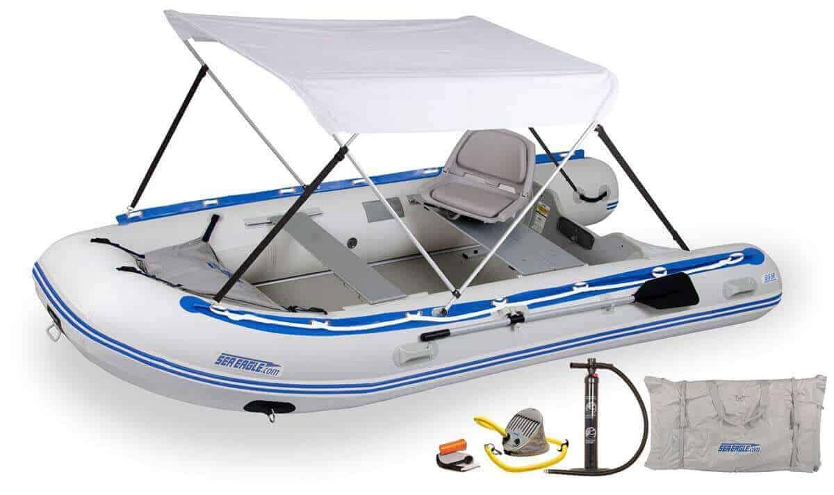 The 126SRK_SWC Sea Eagle 12'6″ Sport Runabout Inflatable Boat - Swivel Seat & Canopy Package.
