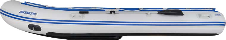 The side view of a Sea Eagle 12'6″ Sport Runabout Inflatable Boat.