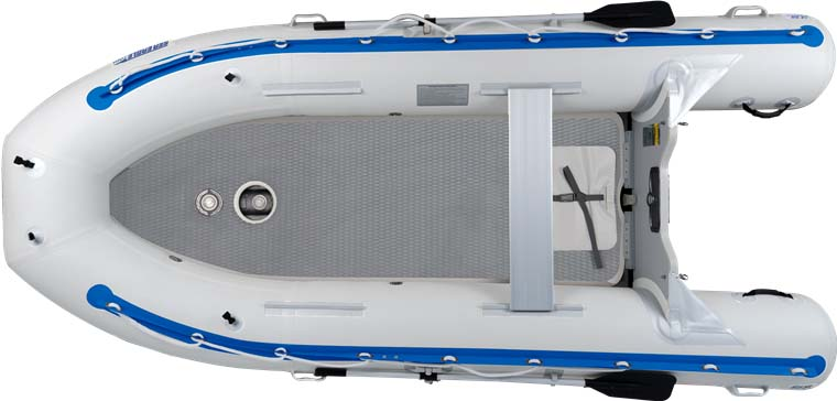 The top view of a Sea Eagle 12'6″ Sport Runabout Inflatable Boat.