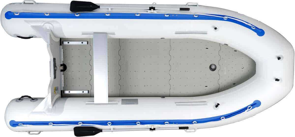 A Sea Eagle 14' Sport Runabout Inflatable Boat with the molded plastic floorboard.
